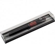 Ручка шариковая автоматическая Optima, металлический корпус, черный с красной полосой в подарочной коробке