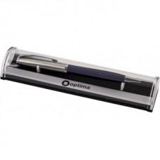 Ручка шариковая автоматическая Optima, металлический сине-серебряный корпус, в подарочной коробке