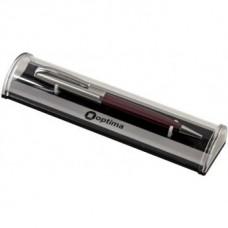 Ручка шариковая автоматическая Optima, металлический красно-серебряный корпус, в подарочной коробке