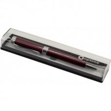 Ручка шариковая автоматическая Optima, красный металлический корпус, в подарочной коробке