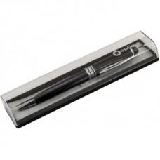 Ручка шариковая автоматическая Optima, черный металлический корпус, в подарочной коробке