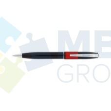 Ручка шариковая автоматическая Economix, черный корпус с красной полосой, в подарочной коробке