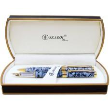 Набор: ручка шариковая и ручка перьевая SZ.LEQI Marble, корпус серый