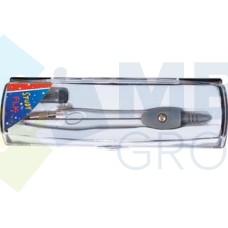 Циркуль металлический с запасными грифелями в пластиковой коробке Economix