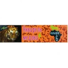 """Краски акварельные медовые Economix """"Africa"""", 6 цветов, без кисточки, картон"""