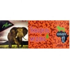 """Краски акварельные медовые Economix """"Africa"""", 12 цветов, без кисточки, картон"""