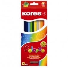 Карандаши цветные Kores, треугольные, с точилкой, 12 цветов