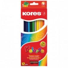 Карандаши цветные Kores, шестиугольные, с точилкой, 12 цветов