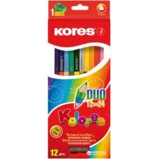 """Карандаши цветные Kores """"Duo"""", трехгранные, 12 шт., 24 цвета"""