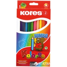 """Карандаши цветные Kores """"Jumbo"""", трехгранные, с точилкой, 12 цветов"""