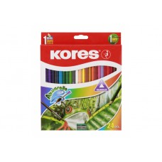 Карандаши цветные акварельные Kores, треугольные, с точилкой и кисточкой, 24 цвета