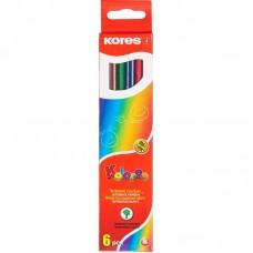 Карандаши цветные Kores, шестиугольные, 6 цветов