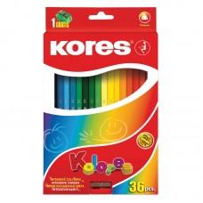 Карандаши цветные Kores, с точилкой, треугольные, 36 цветов