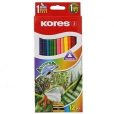 Карандаши цветные акварельные Kores, треугольные, с точилкой и кисточкой, 12 цветов