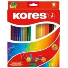 Карандаши цветные Kores, треугольные, с точилкой, 24 цвета