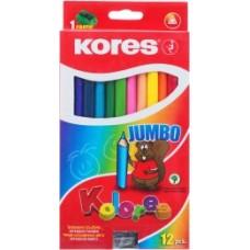 Карандаши цветные Kores, шестиугольные, с точилкой, 24 цвета