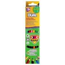 """Карандаши цветные Cool for school """"DUAL"""", двусторонние, треугольные, 12 цветов"""