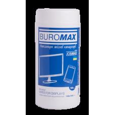 Салфетки для очистки экранов, мониторов и оптики Jobmax Buromax, 100 шт, круглая туба