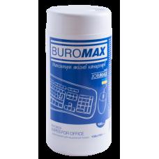 "Салфетки для очистки оргтехники, офисной мебели, пластика Buromax ""Jobmax"", 100 шт, круглая туба"