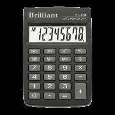 Калькулятор карманный Brilliant BS-100, 8 разрядов, размер 58х88х10мм