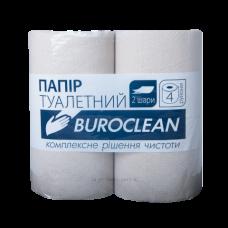 Бумага туалетная макулатурная Buroclean 4 рулона, на гильзе, серая