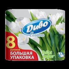 Бумага туалетная целлюлозная Диво эконом 8 рулонов, на гильзе, белая