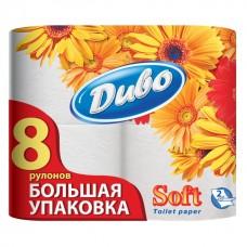 Бумага туалетная целлюлозная Диво Soft 8 рулонов, на гильзе, белая