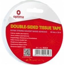 """Лента клейкая двусторонняя """"TISSUE Solvent"""", 18 мм х 10 м Optima"""